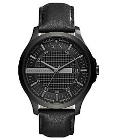 A|X Armani Exchange Men's Hampton Black Leather Strap Watch 46mm