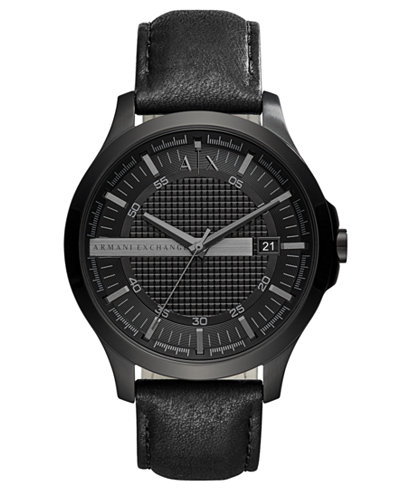 A|X Armani Exchange Men's Hampton Black Leather Strap Watch 46mm