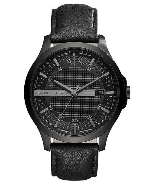 Armani Exchange A|X Men's Hampton Black Leather Strap Watch 46mm