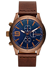 Diesel Men's Chronograph Rasp Chrono 46 Brown Leather Strap Watch 46mm