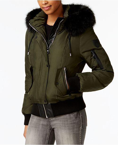 ffb22e4fabeeac Vince Camuto Faux-Fur-Trim Hooded Bomber Coat & Reviews - Coats ...