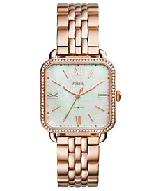 Fossil Women's Micah Rose Gold-Tone Stainless Steel Bracelet Watch 32x32mm