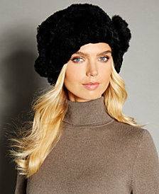 The Fur Vault Rosette Knitted Rex Rabbit Fur Hat