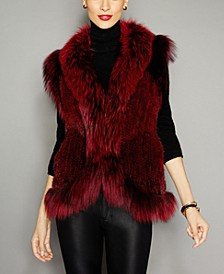 Fox-Trim Knitted Mink Fur Vest
