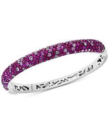 Splash by EFFY® Ruby (6-5/8 ct. t.w.) & Pink Sapphire (4 ct. t.w.) Bangle Bracelet in Sterling Silver