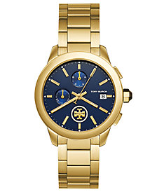 Tory Burch Women's Chronograph Collins Gold-Tone Stainless Steel Bracelet Watch 38mm