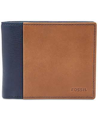 fossil mens ward bifold id leather wallet all
