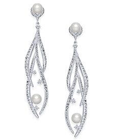 Danori Silver-Tone Imitation Pearl & Pavé Drop Earrings, Created for Macy's