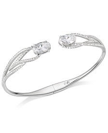 Eliot Danori Silver-Tone Cubic Zirconia Hinged Bangle Bracelet, Created for Macy's