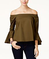 XOXO Juniors' Ruffle-Sleeve Off-The-Shoulder Top