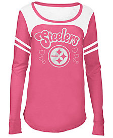 5th & Ocean Pittsburgh Steelers Pink Slub Long Sleeve T-Shirt, Girls (4-16)