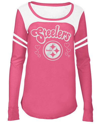 5th & Ocean Pittsburgh Steelers Pink Slub Long Sleeve T-Shirt, Girls (4-16)