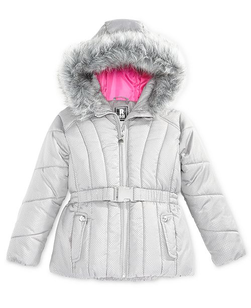 S Rothschild & CO S. Rothschild Foil-Dot Belted Puffer Jacket with Faux-Fur Trim, Big Girls