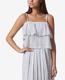 Avec Les Filles Striped Tiered Camisole Top