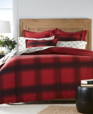 Martha Stewart Collection 100 Cotton Reversible Ombre Plaid Flannel King Duvet Cover Created for Macys
