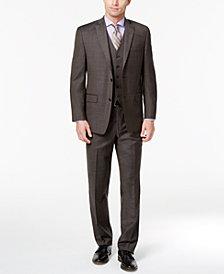 Michael Kors Men's Classic-Fit Stretch Brown Stepweave Vested Suit