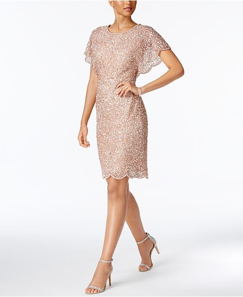 64848001 Adrianna Papell Beaded Sequined Dress; Adrianna Papell Beaded Sequined Dress  ...