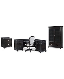 Clinton Hill Ebony Home Office Set, 4-Pc. Set (L-Shaped Desk, Lateral File Cabinet, Door Bookcase & Upholstered Desk Chair), Created for Macy's