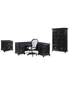 Clinton Hill Ebony Home Office Furniture Set, 4-Pc. Set (L-Shaped Desk, Lateral File Cabinet, Door Bookcase & Upholstered Desk Chair), Created for Macy's