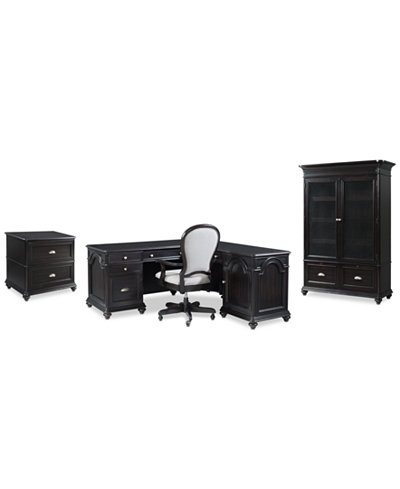 Clinton Hill Ebony Home Office Furniture Set, 4-Pc. Set (L-Shaped Desk, Lateral File Cabinet, Door Bookcase & Desk Chair), Created for Macy's
