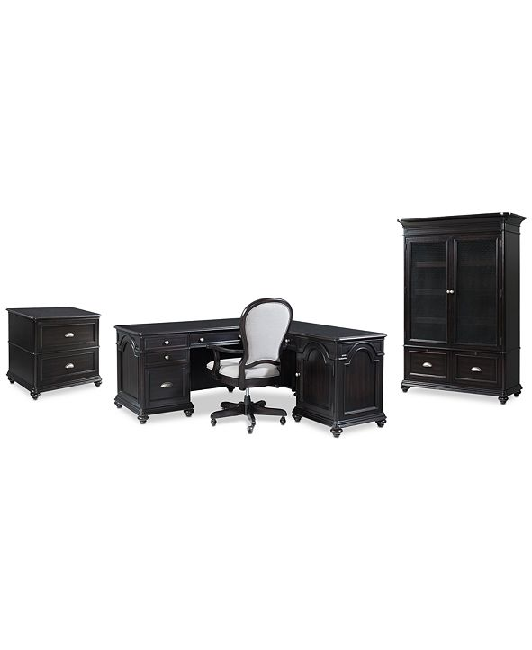 Furniture Clinton Hill Ebony Home Office Furniture Set, 4-Pc. Set (L-Shaped Desk, Lateral File Cabinet, Door Bookcase & Upholstered Desk Chair), Created for Macy's