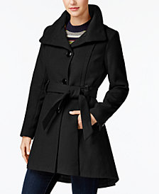 Madden Girl Juniors' Faux-Leather-Trim Skirted Coat
