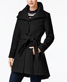 Madden Girl Juniors' Faux-Leather-Trim Skirted Coat