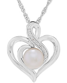 Freshwater Pearl (7mm) & Diamond Accent Heart Pendant Necklace in Sterling Silver