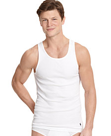 Polo Ralph Lauren Men's Underwear, Big & Tall Stretch Ribbed Tanks 2-Pack