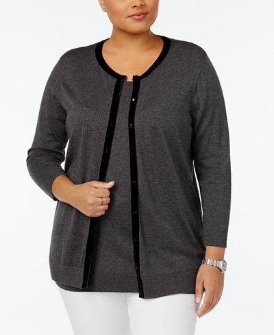 August Silk Plus Size Velvet-Trim Cardigan