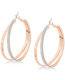 GUESS Rose Gold-Tone Glitter Double Hoop Earrings