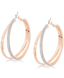 "GUESS Rose Gold-Tone 2"" Glitter Double Hoop Earrings"