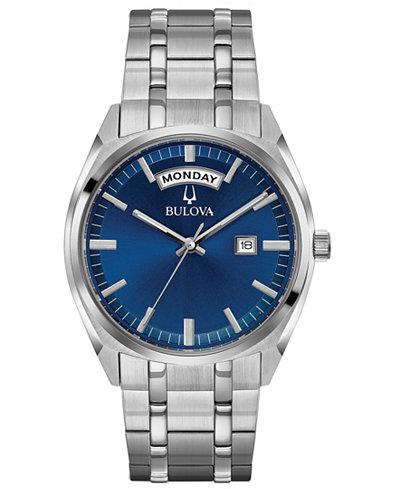 Bulova Men's Classic Stainless Steel Bracelet Watch 39mm