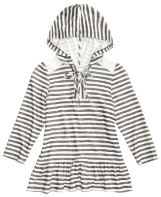 Image of Monteau Lace-Trim Striped Hoodie, Big Girls (7-16)