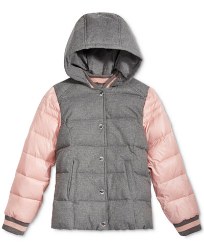 Michael Kors Hooded Varsity Puffer Jacket, Toddler Girls (2T-5T ...