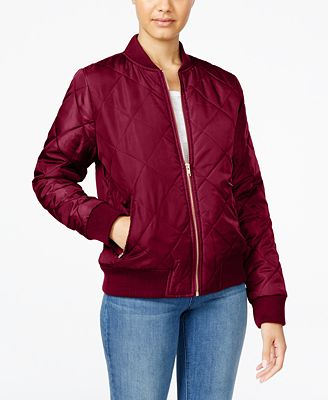 Say What? Juniors' Quilted Bomber Jacket