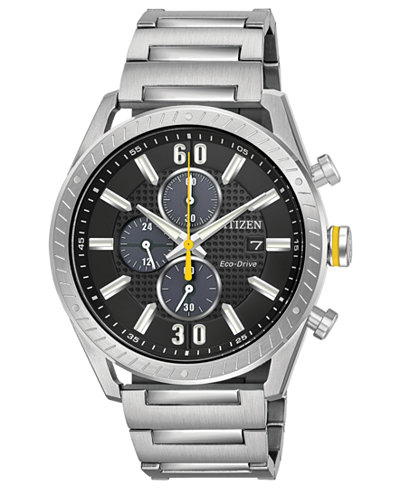 Citizen Drive from Citizen Eco-Drive Men's Chronograph Stainless Steel Bracelet Watch 43mm