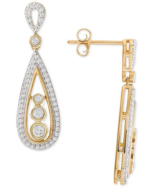 Wrapped in Love Diamond Teardrop Drop Earrings (1/2 ct. t.w.) in 14k Gold, Created for Macy's