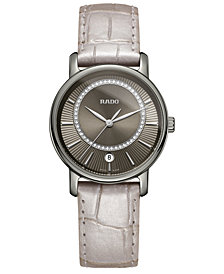 Rado Women's Swiss Diamaster Diamond (0.14 ct. t.w.) Beige Leather Strap Watch 33mm