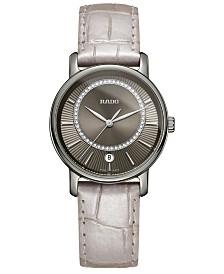 Rado Women's Swiss Diamaster Diamond (0.14 ct. t.w.) Beige Leather Strap Watch 33mm