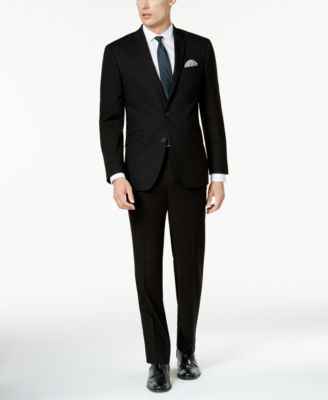 Men's Techni-Cole Solid Black Slim-Fit Suit