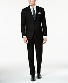 Men's Big and Tall Ready Flex Solid Black Slim-Fit Suit
