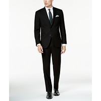 Deals on Kenneth Cole Reaction Mens Ready Flex Solid Black Slim-Fit Suit