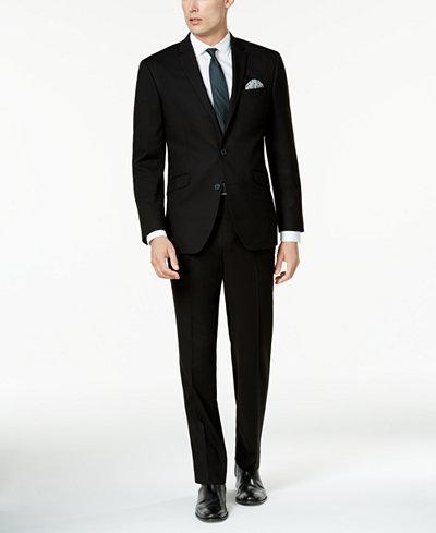 Kenneth Cole Reaction Men's Techni-Cole Solid Black Slim-Fit Suit ...
