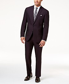 Men's Ready Flex Slim-Fit Burgundy Iridescent Suit