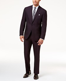 Kenneth Cole Reaction Men's Techni-Cole Slim-Fit Burgundy Iridescent Suit