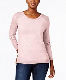 Karen Scott Side-Slit Cotton Sweater, Created for Macy's