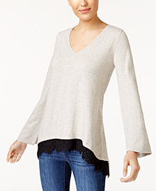 Style & Co Petite Lace-Trim Sweater, Created for Macy's