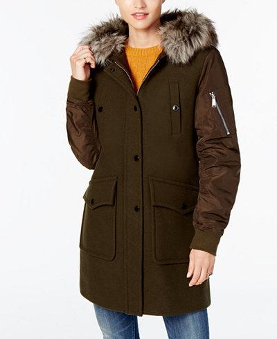 BCBGeneration Faux-Fur-Trim Mixed-Media Coat