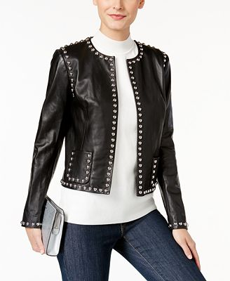 MICHAEL Michael Studded Leather Jacket